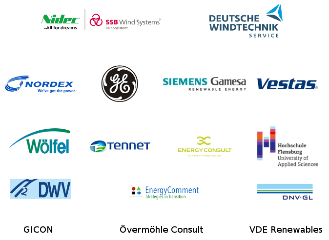 SSB Windtechnik, Deutsche Windtechnik, Siemens, Nordex, Ge Renewable Energy, Övermöhle Consult, DNV GL, TenneT, Energy Coment, GICON, Wölfel Engineering, Hochschule Flensburg, DWV, energy consult, VDE Renewables, Vestas