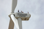 Wind students from Clovis Community College climb Mesalands Community College's turbine at the Wind Center to gain hands-on experience