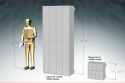 The illustration compares the large 10-kW controller  enclosure with the new and smaller 150-kW unit