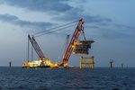 UK: Construction team battle the elements to begin installation of first foundations at Rampion Offshore Wind Farm