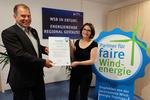 Partnerschaftliche und faire Projektentwicklung: WSB erhält Siegel der Thüringer Servicestelle Windenergie