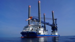 British Dudgeon offshore wind farm: First turbine in the water