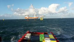 Supply vessel of Rhenus on its way to the offshore platform. (Image: Rhenus SE & Co. KG.)