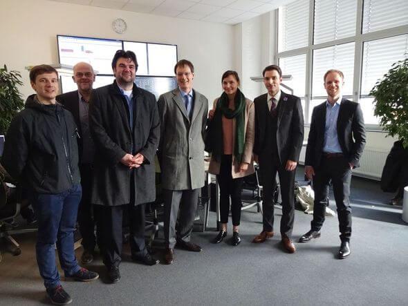 Vertreter des BMWi, Bitkom e.V. und der Stadt Leipzig zu Besuch bei der e2m am 1. März.