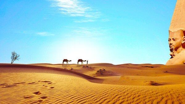sand, dunes, desert, sphinx, sun, people, camels,