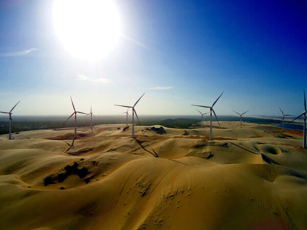 wind turbine, desert, sun, wind energy, clouds,