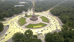 Greenpeace-Aktivisten demonstrieren mit riesigem Sonnensymbol an Berliner Siegessäule