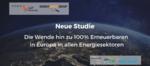Neue Studie: 100% Erneuerbare Energie in ganz Europa ist kostengünstiger als das derzeitige Energiesystem und reduziert die Emissionen vor 2050 auf Null