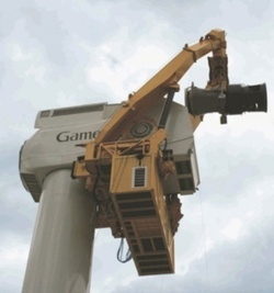 Gamesa's FlexiFit crane connects to the underside of the nacelle to raise and lower the drive train, generator, and hub. The crane can also be used throughout the wind farm and operates as an assembly and service tool.