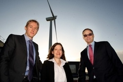 From left to right Matthew Clayton, Operations Director, Triodos Renewables. Frances Karki, Chief Operating Officer, Wind Direct. Rasmus Sunde, Eastern Region General Manager, FMC Technologies