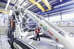 Schaeffler's large bearing test rig measures 16-m long, 6-m wide, and 5.7-m high, and weighs about 350 tons
