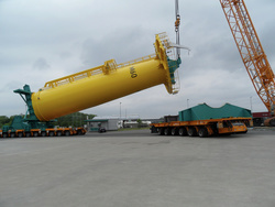 The last transition piece being turned upright before leaving the Cuxhaven berth on the North Sea.