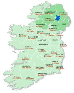 Irish County Wind Map