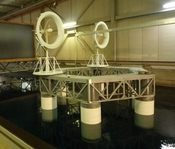 Wind farm model experiment in the large water tank at RIAM