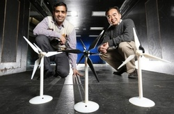 Iowa State aerospace engineers, left to right, Anupam Sharma and Hui Hu are working to improve the performance of wind turbines and wind farms. Larger image / Photo Credit Christopher Gannon