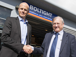Picture shows Ola Ringdahl, CEO of the Nord-Lock Group (left) and Fred Heaton, Managing Director of Boltight shortly after announcing the acquisition.