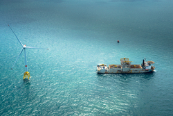 An offshore wind farm with a Haliade wind turbine in the North Sea (Image: GE Renewable Energy)