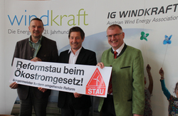 Protest: Franz Werdenich, Stefan Moidl, Herbert Mihaly (© IG Windkraft)