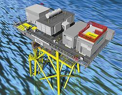 Das neue Offshore-Transformatormodul (OTM) von Siemens: Die innovative Lösung kann auf einem eigenen unabhängigen Windturbinen-Fundament installiert werden.