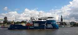 The picture shows the new Siemens wind service operation vessel (SOV) at the harbour in Hamburg.