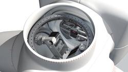 Schnitt-Darstellung der Windenergieanlage mit dem Pitchsystem 3 von Moog in Betrieb.
