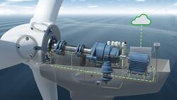 Mittels Sensoren im Triebstrang werden Zustandsinformationen von Windenergieanlagen im Betrieb erhoben und in Echtzeit verarbeitet.