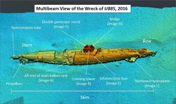 Sonar scan of submarine