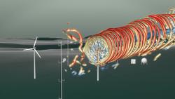 Das Standbild aus der Video-Animation visualisiert die Windströme einer Anlage auf dem Windenergie-Testfeld WINSENT. (Bild: 2Dmedia/WindFors)