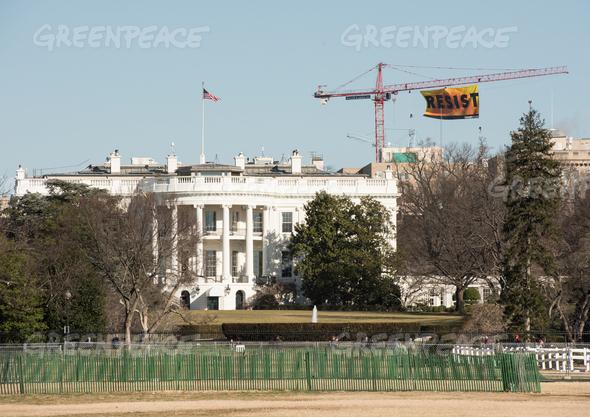Resist Trump Banner Action in Washington D.C. (Image: Greenpeace USA)