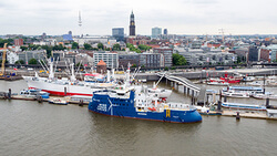 The WINDEA La Cour at her christening ceremony in the harbor of Hamburg.