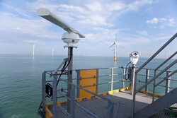 Picture of the multi-sensor bird detection system (MUSE) installed at Thanet offshore Wind Farm (UK). © DHI