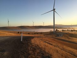 GE wind turbines at the Ararat wind farm in Australia. The total global power generating capacity of installed GE wind turbines reached 57.4 gigawatts in 2016. Image credit: GE Renewable Energy.