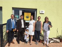 v.l. Mirko Konstanski (EMB), Klaus Rocher (Bürgermeister Rangsdorf), Melanie Eichhorst (1. Vorsitzende Kita L.i.n.O!  e.V.), Susanne Mann (Erzieherin), Doreen Raschemann (Energiequelle GmbH)