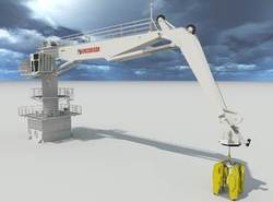 For wind turbines' regular inspections and maintenance, MacGregor full three-axis motion compensation crane offers safe and precise operation for landing containers of tools, equipment and personnel