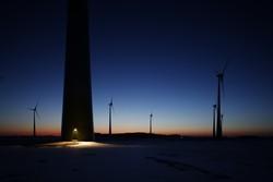 Windpark Ahlerstedt-Wohnste am Abend  © BWE/Jens Meier