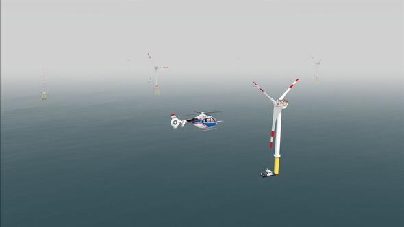 Simulierter Flug im Offshore-Windpark im AVES bei starkem Nebel (Grafiken: DLR)