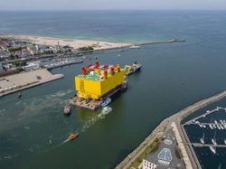 It took three tugboats to move the roughly 18,000-ton station to its destination in the German North Sea (Image: GE Energy Connections)