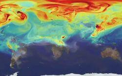 "Screenshot der Visualisierung ""A year in the life of Earth's CO2"" von NASA Goddard"