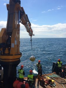 Metocean deployment at Hywind Scotland (Image: Courtesy of Richard Gaches, Statoil)