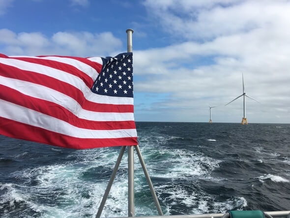 A picture from Cathie Associates visit to the US' first commercial offshore wind farm; Block Island.