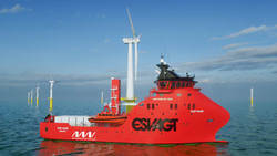 ESVAGT Service Operation Vessel to support MHI Vestas Offshore Wind in the Deutsche Bucht Wind Farm project. (Image: ESVAGT)