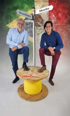 Juan José Chaparro Schmiel (links), Leiter der Tochtergesellschaft in Brasilien, und Gerardo Montenegro Aznar (rechts), Leiter des Standorts in Mexiko, freuen sich auf die neue Herausforderung. (Bild: Helukabel)