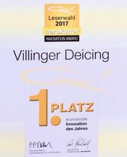 Villinger R&D gewinnt im Jahr 2017 den Innovationspreis im Bereich Luftfahrt für seine Enteisungsanlagen.