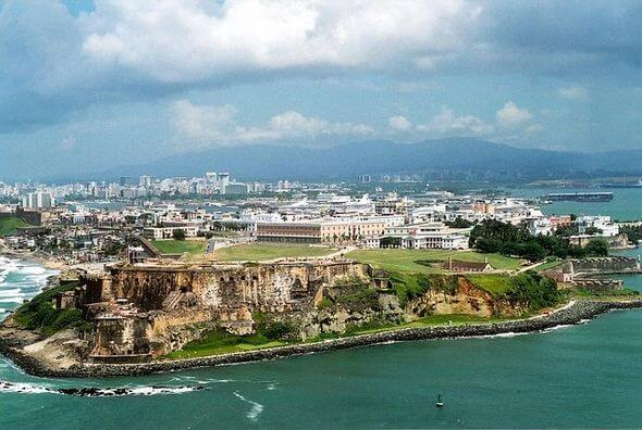 Blick auf San Juan, Hauptstadt von Puerto Rico, vor dem Hurrikan