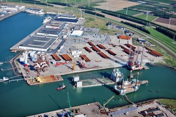 So soll die Hafenanlage einmal aussehen (Bild: MHI Vestas)