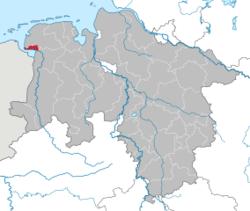 Lage von Emden in Niedersachsen (Bild: Wikimedia)