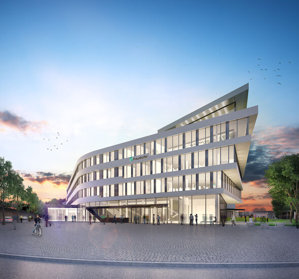 Fraunhofer IEE: Parallel zur Eigenständigkeit ensteht in Kassel ein Neubau. 2020 soll die neue Forschungs- und Entwicklungsumgebung für etwa 320 Mitarbeitende fertig sein. (Foto: © Fraunhofer IWES | HHS Architekten)