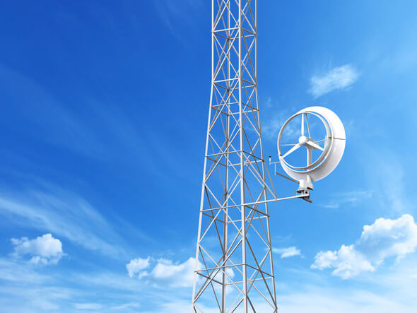 Rendering of Halo Energy's 5kW wind turbine installed on a telecom tower (Image: Halo Energy)