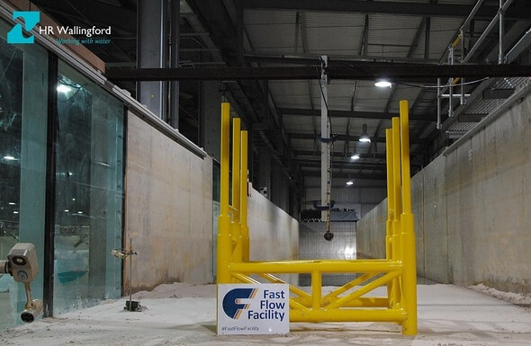 Physical model testing of an offshore substation jacket in HR Wallingford's Fast Flow Facility for the University of Rostock at a scale of 1:60. (All Images: HR Wallingford)