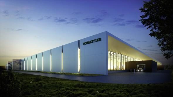 """So soll sie aussehen – die weltweit erste """"Fabrik der Zukunft"""" von Schaeffler. Gebaut wird sie aktuell in Xiangtan in China. (Bild: Schaeffler)"""